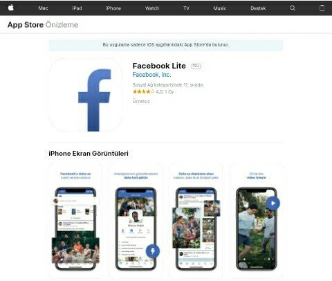 iOS Facebook Lite